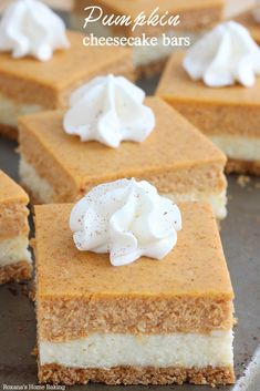 Pumpkin Cheesecake Bars (also more recipes at the end!) - So easy to make and with the right amount of pumpkin flavor, these pumpkin cheesecake bars taste exactly like a cheesecake that crossed paths with a pumpkin pie – the best of both worlds! Holiday Desserts, Holiday Baking, Fall Baking, Dessert Bars, Dinner Dessert, Pumpkin Cheesecake Bars, Pumpkin Bars, Pumpkin Pumpkin, Pumpkin Puree