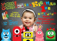 printable yo gabba gabba invitation by MVKeepSakes on Etsy, $12.00
