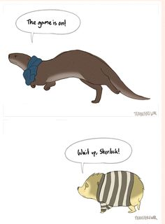 I love how silly otters look when they run. Unless it's an otter!Sherlock. I just love those. And hedgehog!John. Love those, too.  [animated gif at http://teabeforewar.tumblr.com/post/58029445393/teabeforewar-i-love-how-silly-otters-look-when ]