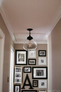 Little house of four: new hallway light update hallway ceiling lights, hallway light fixtures Hallway Ceiling Lights, Hallway Light Fixtures, Farmhouse Light Fixtures, Kitchen Lighting Fixtures, Farmhouse Lighting, Room Lights, Hallway Chandelier, Hallway Lamp, Wall Lamps