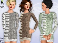 The Sims Resource - TSR Ribbed Sweater Dress Too by minicart - Sims 3 Downloads CC Caboodle