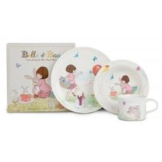 Belle & Boo - Juego de vajilla (3 piezas, melamina)
