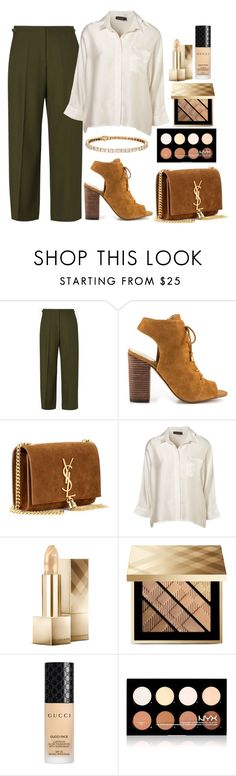 """""""Untitled #1575"""" by mihai-theodora ❤ liked on Polyvore featuring Maison Margiela, Jessica Simpson, Yves Saint Laurent, Burberry, Gucci and NYX"""