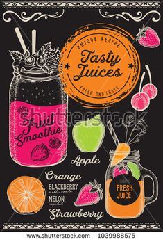 Juice and smoothie restaurant menu. Vector drink flyer for bar and cafe. Design template with hand-drawn fruit illustrations.