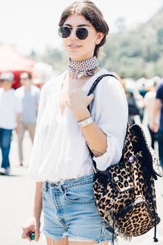 knotted scarf, loose top, denim shorts
