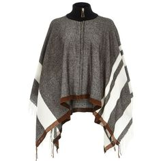 River Island Grey zipped blanket cape ($70) ❤ liked on Polyvore featuring outerwear, accessories, capes / ponchos, grey, women, cape coat, river island, cape poncho, lightweight poncho and grey cape