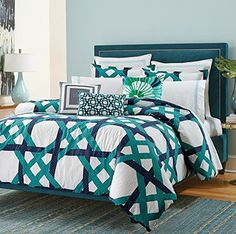 #checkitout  #Trina Turk's Pacifica Pier Lattice bed set features a navy and turquoise latticework design over a crisp white background. The set comes with a duv...