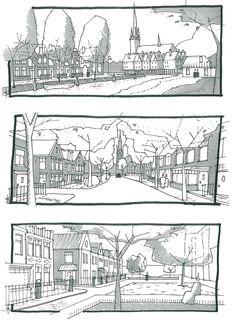 Perspectieven voor Beeldkwaliteitsplan. Ik heb als basisschetsen getekend, de definitieve beelden zijn door Bob Dinwiddy gemaakt.
