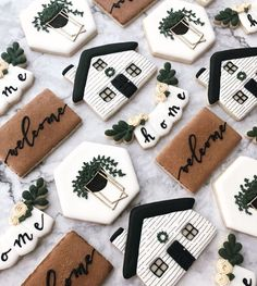 Bc you should never show up to a housewarming party empty handed 🏠 Iced Cookies, Cut Out Cookies, Cute Cookies, Royal Icing Cookies, Cupcake Cookies, Sugar Cookies, Cupcakes, Cookie Favors, Baby Cookies