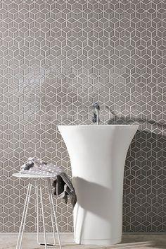 blinkende mozaïek, mozaïek op net, impermo, wandtegels, badkamer, vrijstaande wastafel, vrijstaande lavabo, moderne badkamer, badkamertegel