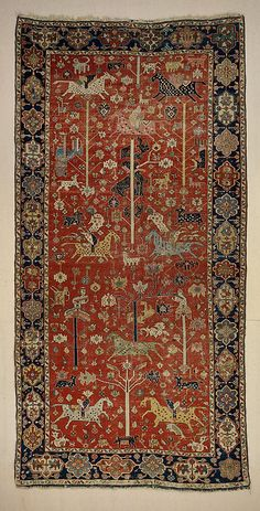 Carpet  Object Name:     Carpet Date:     19th century Geography:     Northwestern Iran or Caucasus Medium:     Wool (warp, weft and pile); symmetrically knotted pile Dimensions:     L. 154 in. (391.2 cm) W. 74 in. (188 cm) Classification:     Textiles-Rugs