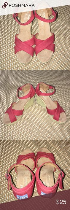 TOMS Espadrilles Sandal Wedges Red - W6 In great shape. Worn 2-3 times. TOMS Shoes Espadrilles