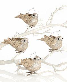 Holiday Lane Christmas Ornaments, Set of 4 Glitter Bird Clips - Holiday Lane - Macy's