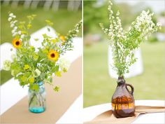 LOVE these wildflower centerpieces, adorable