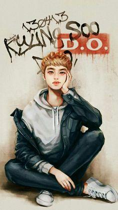 exo d.o kyungsoo fanart Kyungsoo, Kaisoo, Kpop Exo, Mamamoo, L Wallpaper, Exo Anime, Exo Fan Art, Exo Lockscreen, Kpop Fanart