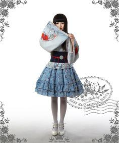 Sumoru Kingyo, Wa Lolita Blue & White Kimono/Yukata 6pcs Set