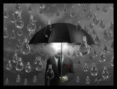 "Made by: Vespertino aka Miguel Angel , ""The Unkown man""  - Surrealism (It's raining Lightbulbs)  #redhetpeertje"