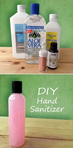 Hand Sanitizer Recipe Ingredients: 1 Cup of 100% Aloe Vera Gel 6 Tablespoons of Witch Hazel 2 Tablespoons of Rubbing Alcohol (optional) 1 Drop of Tea Tree Essential Oil 4 to 8 Drops of Jasmine Essential Oil (or scent of your choice) Pink Glitter (optional) Soy Based Pink Food Coloring (optional)