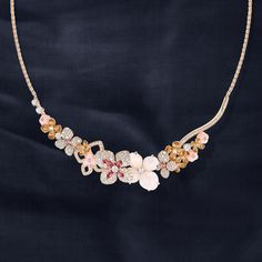Hortensia necklace in pink gold, set with angel-skin and pink opal, pink tourmalines, pink sapphires and diamonds.