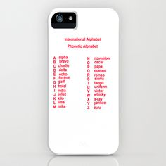 International Alphabet iPhone Case by David French International Alphabet the phonetic alphabet  letters and there International names used and recognised the world over by business the military and transportation including aviation and shipping , alpha, bravo, Charlie, delta, echo, foxtrot, golf, hotel, india, Juliet, kilo, lima, mike, November, Oscar, papa, quebec, romeo, sierra, tango, uniform, victor, whisky, yankee, zulu,- $35.00