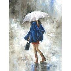 Rain Girl in Blue Canvas Art - Vickie Wade (18 x 24)