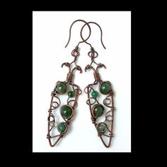 wire earrings  moss agate earrings  magical by Kissedbyclover, $35.00