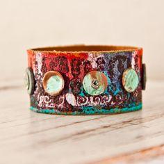 Boho Jewelry Leather Cuff Bracelet Wristband by rainwheel, $50.00