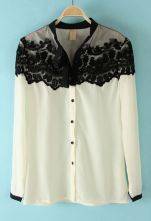 White Floral Lace Cape Collar Long Sleeve Chiffon Shirt $30