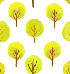 Seamless pattern with watercolor trees vector 4150895 - by ireneart on VectorStock®