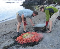 Dinner on the beach during the Mary Day cruise in Maine. They cook the food over a fire! Super yummy!