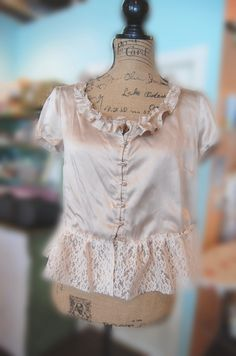 Cappuccino Silk Blouse Vintage Style Shabby by OfLinenandLace, $32.50