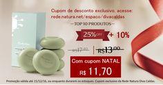 50% + 10% OFF Na Rede Natura Diva Caldas você tem + 10% de desconto em todo o site. Aplicável também em Promoções e Presente. Use o cupom exclusivo NATAL, válido até 18/12/16. Acesse: http://rede.natura.net/espaco/divacaldas/sabonete-em-barra-puro-vegetal-alecrim-e-salvia-tododia-5-und-de-90g-63939