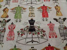 Angel Band BTY J Wecker Frisch Quilting Treasures Handmaids Dress Form on Ivory #QuiltingTreasures