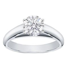 Platinum Round Diamond Cathedral Solitaire Engagement Ring $1,250