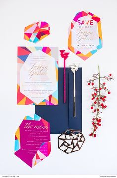 This stationery boasted geometric patterns in an assortment of bright shades, merged with curvaceous gold lettering. Colorful Wedding Invitations, Wedding Invitation Design, Wedding Stationary, Wedding Colors, Wedding Ideas, Fleur Design, Wedding Stationery Inspiration, Geometric Patterns, Invites