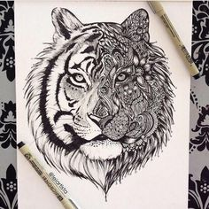 Black and White Tiger Art by Leiartista