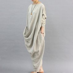 Unique Design Linen Dress Oversized Kaftan Dress Back Slit Maxi Dress Loose Long Dress SD113