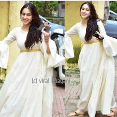 Sara Ali Khan spotted in Bandra! We're glad that she has started smiling for paps instead of hiding her face, like she used to. Pakistani Dresses, Indian Dresses, Indian Outfits, India Fashion, Suit Fashion, Fashion Dresses, Indian Attire, Indian Wear, White Anarkali