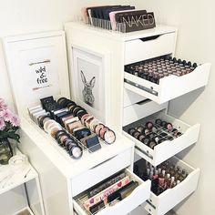 pinterest: @lilyosm | goals makeup storage room decor nars too faced tarte mac benefit brands