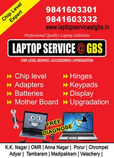 Laptop Service center in Chennai, having branches in tamil nadu, offers free laptop service estimation & free door step pickup & drop, specialized in chip level service, authorized laptop service center Laptop Repair, Best Laptops, Coimbatore, Chennai, Branches, Anna, Drop, Eggplant