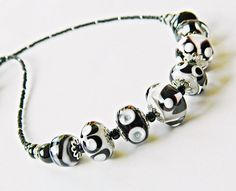 Coco Black White Lampwork necklace Classic by MarianneMerceria #integritytt