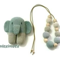 Baby shower gift!  Ellis the elephant and teething - nursing necklace   Www.instagram.com/mpleximommy