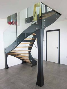 97 Most Popular Modern House Stairs Design Models - Staircase Metal, Narrow Staircase, Concrete Staircase, Spiral Staircases, House Stairs, Facade House, Home Stairs Design, House Design, Stair Gallery