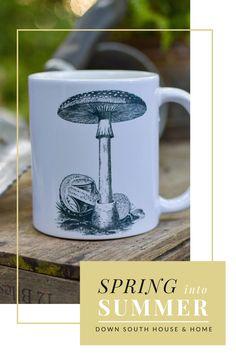 Southern Kitchen Decor, Southern Kitchens, Rustic Kitchen, Southern Porches, Southern Living, Mushroom Drawing, White Cups, Down South, Southern Charm