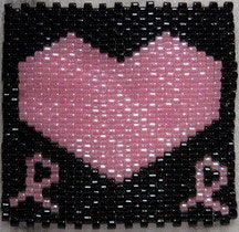 Free Beading Pattern - Breast Cancer Quilt Square - Big Heart - Item Number 14784 at Bead-Patterns.com