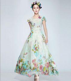 Sale Boho Floral Print Bohemian Aline Dress Full by ChineseHut, $149.00