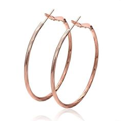 Women Ear Clip 18K Rose Gold Filled Round Oversize Party Fashion Earring