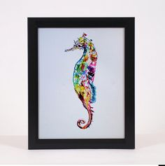 "Items similar to ORIGINAL Watercolour painting ""Seahorse, Wall Home Modern Contemporary, on Etsy Watercolour Painting, Modern Contemporary, Illustration Art, Ink, The Originals, Frame, Wall, Artwork, Etsy"