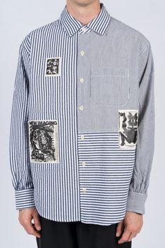 BRAIN DEAD SEERSUCKER PANELED BUTTON UP NAVY – BLENDS Preppy Mens Fashion, Men's Fashion, Black Vans, Seersucker, Navy And White, Button Up, Brain, Shirt Dress, Mens Tops