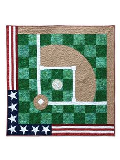 """Get ready to play ball!   Absolutely perfect for the baseball lover in your life, this wall hanging is ideal for putting in a """"man cave"""" or just displaying in your home all year-round. America's favorite pastime is immortalized in this simple yet patriotic quilt pattern that anyone is sure to love. Step-by-step instructions and diagrams are included. Finished size is 50"""" x 50""""."""